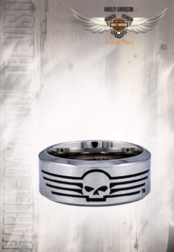 Anello Uomo Harley-Davidson Willie G Skull Lines Stainless Steel Band Ring