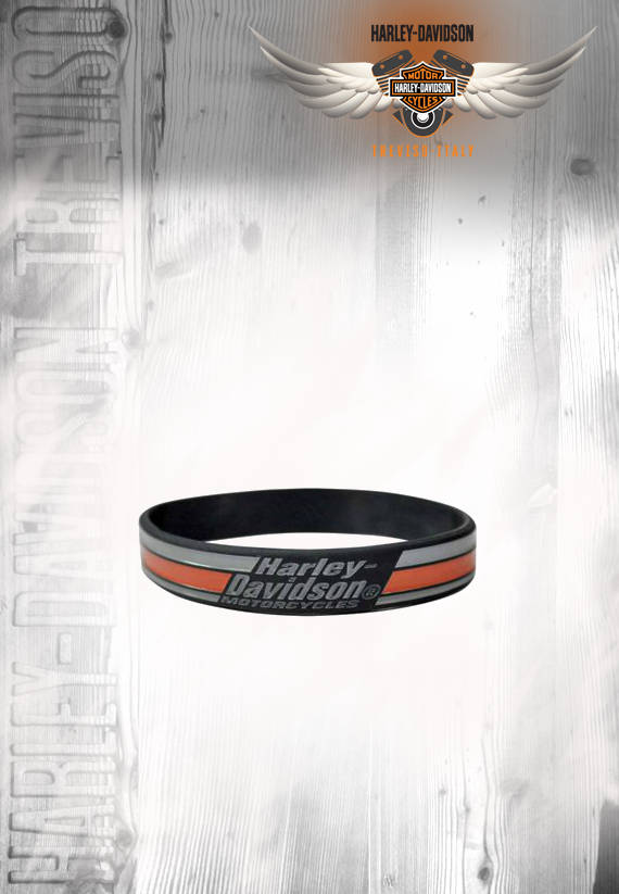 BRACCIALE IN SILICONE H-D STRIPES BLACK SILICONE
