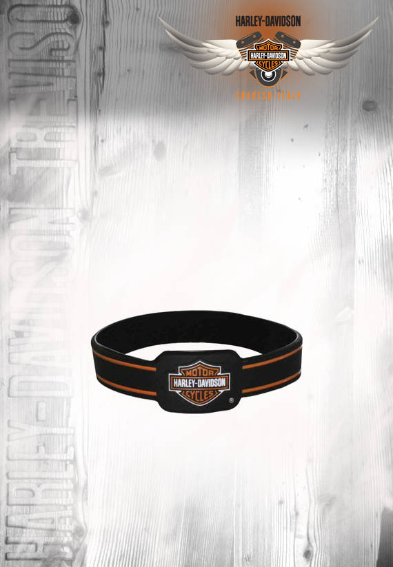 BRACCIALE IN SILICONE HARLEY-DAVIDSON BAR & SHIELD LOGO