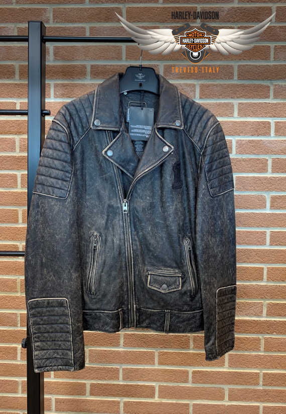 GIACCA DISTRESSED LEATHER BIKER