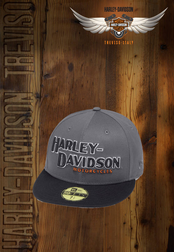 CAPPELLO HARLEY-DAVIDSON MENS GREY IRON BLOCK 59FIFTY