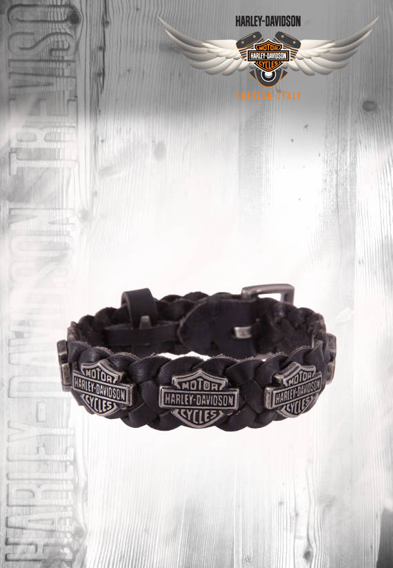 BRACCIALE IN PELLE CON BAR & SHIELD